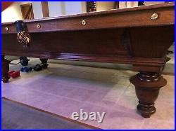 1880s BA Stevens 9ft. 3 piece slate antique pool table, Restored