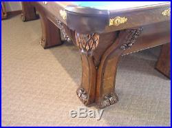 1898-1911, Brunswick Pfister Six Leg 9' Pool Table Over 100 yrs, old