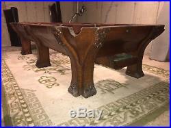 1908 Brunswick Balke-collender Pfister 6 Leg Pool Table