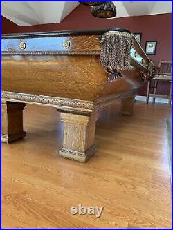 1910 Antique Pool Table The Brunswick-Balke Collender Co Excellent Condition