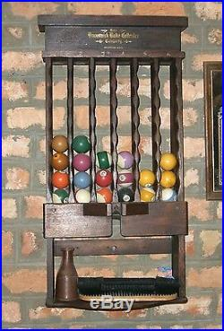 1919 Vintage Antique Brunswick-Regina Pool Table withBall and Cue Rack