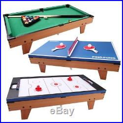 3 in 1 Air Hockey Ping Pong Tennis Pool Table Billiard Swivel Table with Accessory
