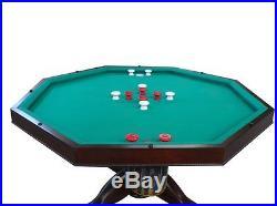 3 in 1 SLATE BUMPER POOL, POKER & DINING TABLE 54 OCTAGON GAME in DARK WALNUT