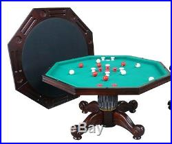 54 OCTAGON 3 in 1 GAME TABLE BUMPER POOL, POKER & DINING in DARK WALNUT NEW