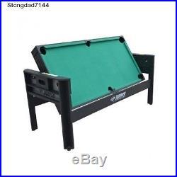 6 Foot Billiards Quad Pool Set Ping Pong Table Air Hockey Tables Football Game X