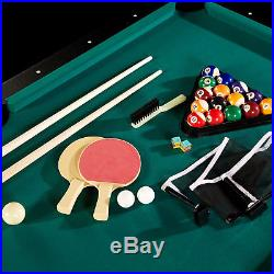 6 Ft Pool Table with Ping Pong Table Tennis Top & Accessory Kit Indoor Arcade Game