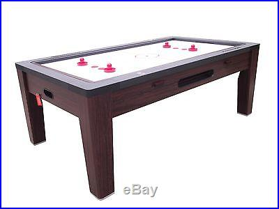 6 in 1 COMBO GAME TABLE~POOL~AIR HOCKEY~PING PONG~ROULETTE~POKER~DINING ~ WALNUT