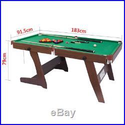 6ft MDF Foldable Billiard Pool Snooker Game Table Green Felt Indoor 182.891.4cm