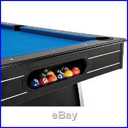 7' Billiards Pool Table Indoor Billiard Black Table with Blue Cloth