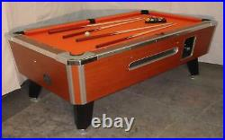 7' Dynamo Light Oak Coin-op Pool Table With Red Cloth Also Avail In 6 1/2', 8