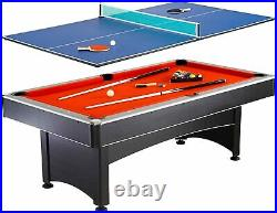 7 Foot Pool Table + Table Tennis Top Includes Billiard + Ping Pong Accessories