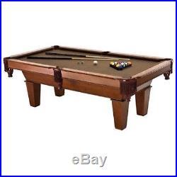 7 Ft. Cherry Wood Brown Felt Pool Table Set Billiards Stick Balls Rack Game Room