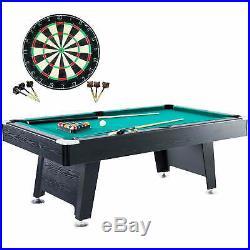 7ft Pool Table Arcade Billiards with Cue Sticks Balls Bonus Dartboard Game Set