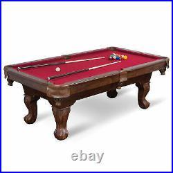 87 Pool Table Billiard Full Set Accesories Burgundy Cloth Triangle Balls Cues