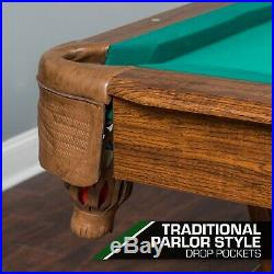 87in. Pool Table Billiard Set Light Cues Balls Chalk Triangle Brush Game Room