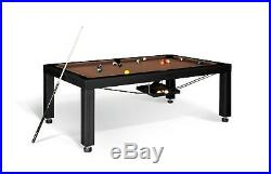 8' BLACK LUXURY CONVERTIBLE DINING POOL TABLE Billiard Dining Desk Fusion VISION