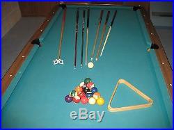 8' Billiards Pool Table 1 Piece Slate Man Cave Recreation Family Room