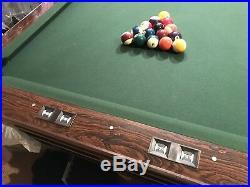8 Brunswick Billiards Gold Crown III Pool Table With Balls Cues Rack