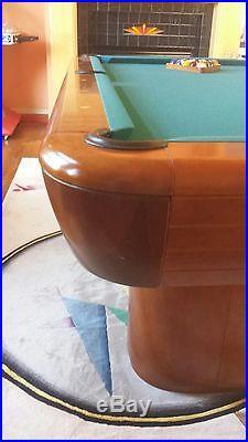 8' Brunswick Gibson Pool Table Billiard Table Matching Cue Wall Rack