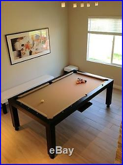 8' Convertible Pool Billiard Table (Slate) 3 in 1, dining/desk/game fusion table