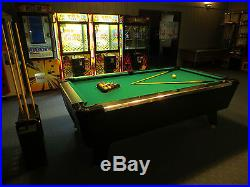 8 FT BLACK POOL TABLE With Green Cloth comes with new balls and sticks