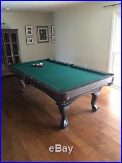 8-Foot Olhausen pool table with sticks, balls, racks NO RESV