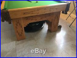 8 Foot Pool Table, Oak Legs