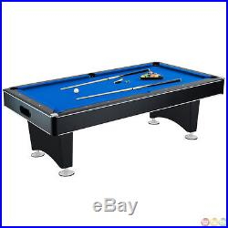 8 Ft Hustler Pool Table Black / Blue Felt Billiards with Accessories Included