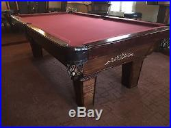 8 Ft Olhausen Mahogney Billards Pool Table Balls 7 Ques Wood Stand Pick up Only
