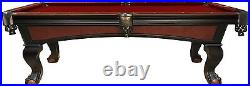 8' Milan Slate Pool Table with Two-Tone Black and Walnut Finish for Billiards