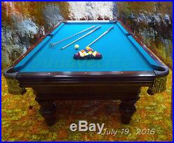 8' Pool Billiard Table,'Renaissance' by Charles A. Porter. Used EXCELLENT Cond
