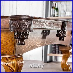 8' Pool Table Classic Luxurious Billiards Billiard Game Room Wood Veneer Felt