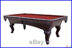 8' Queen Anne Dark Wood Slate Pool Table With Red Felt, Accessory Kit Included