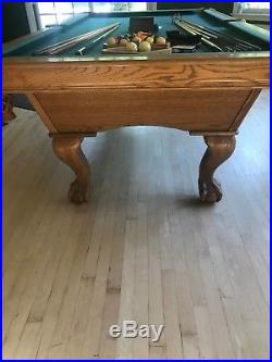8' Solid Oak Pool Table Excellent Condition 1 Italian Slate