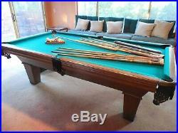 8' U. S Custom Pool Table with 2 sets Billiard Balls 7 Cues + Bridge, wall rack