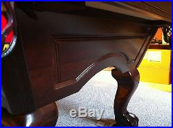 8 ft Brunswick Greenbrier Pool Table with Pool Table Light & Cue Rack