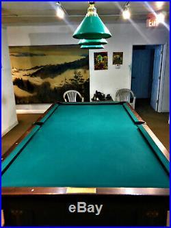9' Antique Brunswick Balke Collender Regina Pool Table with Ball Return +