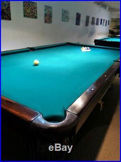 9' Antique Brunswick Balke Collender Westminster Pool Table & Ball Return
