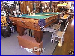 9' BRUNSWICK ANTIQUE POOL TABLE FROM DEALER THE GAME ROOM STORE NJ