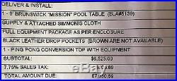 9' BRUNSWICK MISSION POOL TABLE