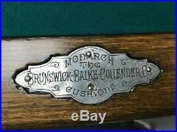 9' Brunswick Balke Collender Manhattan Antique Pool Table Circa 1896