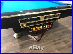 9' Brunswick Gold Crown 4 Piano Black and Gold Trim Pool Table Billiards