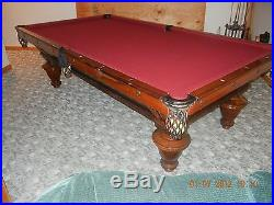 9 FT ANTIQUE BRUNSWICK /BALKE MONARCH C0 BILLARD TABLE