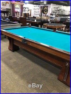 9' antique Brunswick Arcade pool table