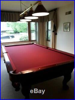 AMF PlayMaster 9' Pool Table 1 slate, 5 cues, 4-lamp bar, bridge, accessories