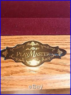AMF Playmaster Pool Table, 8' Solid Oak, Italian Slate Table, Leather Pockets