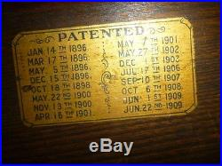 ANTIQUE BRUNSWICK BALKE COLLENDER CO. 1909 Leather Pocket POOL TABLE 1909