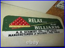 A. E. Schmidt Early billiards pool table Advertising Sign