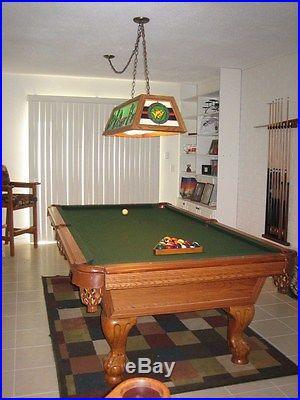 American Heritage 8' Oak Pool Table- 3 piece slate PLUS Overhead light
