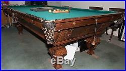 Antique 1895 Brunswick Popular Model Monarch Pool Table 9-Foot Full Size